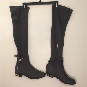 Gray Fabric Stretch Over the Knee Gold Detail Boot